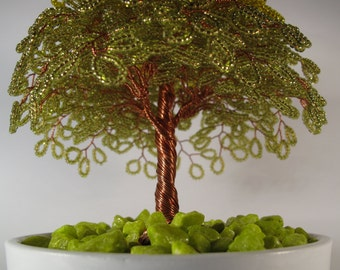 Handmade copper willow wire tree