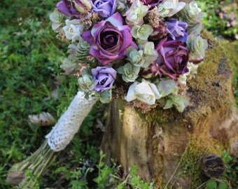 Purple and Lavender Accented Wedding Flower Bouquet