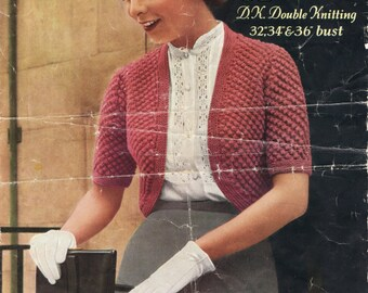 Vintage Retro Knitting  Pattern - Ladies Bolero - Double Knitting - Instant Download PDF