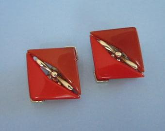 Vintage 2 Tone Orange Moonglow Lucite Earrings