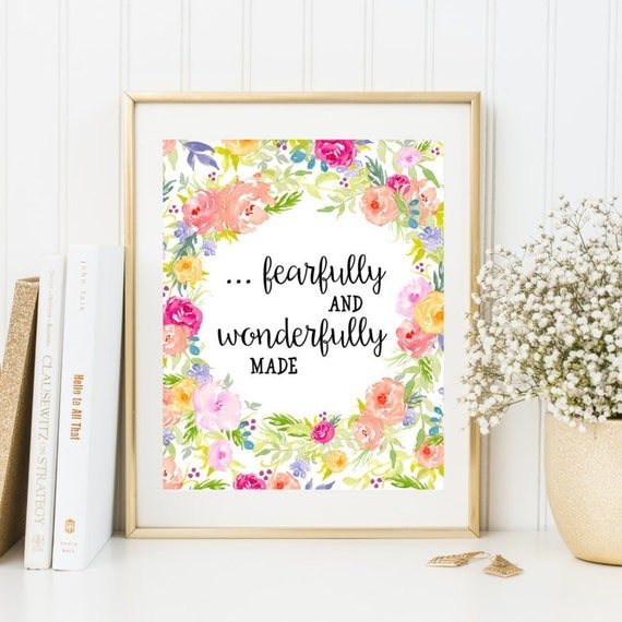 Printable nursery decor bible verse print fearfully and for Bible verses for kids rooms