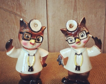 Owl Salt and Pepper Shakers, Vintage Salt and Pepper shakers,