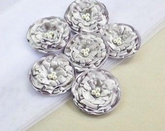 Grey Satin Flowers Embellishments Gray Fabric Flower Appliques DIY Grey Wedding Flower Supply Gray Bridal Fabric Flower Grey Floral Applique