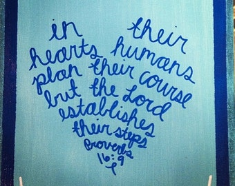 Proverbs 16:9 Heart Shape Scripture Canvas