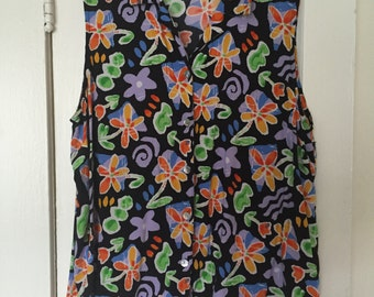 Vintage Oversized 90's Tapestry Blouse / Black Floral Print Sleeveless Blouse