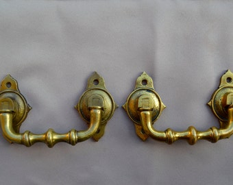 French Antique Pair of Piano Handles - Antique Gilded Bronze Hardware 19th.c - Furniture Ornament - Repurpose Supplies - Trunk Handle