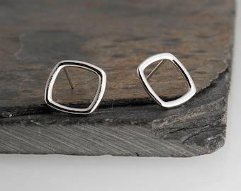 9mm Square Studs, Tiny Earrings, Modern Jewelry, Square Studs, Post Earrings, Sterling silver, Stud Earrings, Minimalist Earrings, Handmade