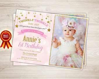 Twinkle Twinkle Little Star Invitation, Twinkle Twinkle Little Star First Birthday Invitation Pink and gold Little Star Birthday Invitation