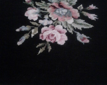 Floral Needlepoint Chair Cover/Wall Hanging/Pillow II