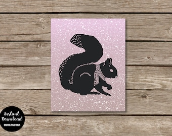 "Winter Squirrel Nursery Wall Art, 8""x10"", Instant Download, Woodland Animal Decor, Printable Nursery Poster, Squirrel Kids Room Print"