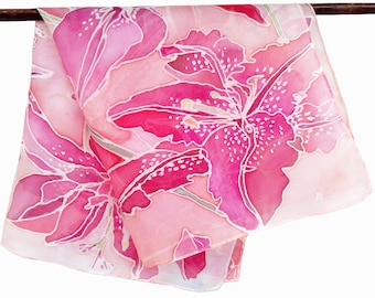 Silk Scarf Hand Painted - Orchid, 55 x 55 cm (21,6 x 21, 6) inches