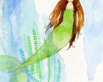 Little Mermaid archival art print from original watercolor