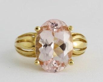 Pink Morganite Ring in 14k Gold, Diamond Morganite Ring, Gemstone Jewelry, Engagement Ring
