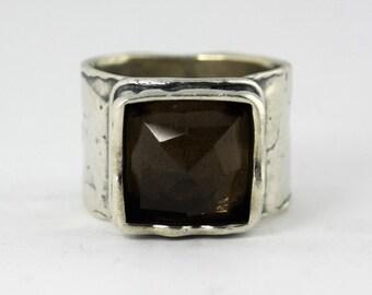 Smoky Quartz Ring, Silver Ring, Brown Stone Ring, Silver Jewelry, Gemstone Jewelry, Oxidized Silver  Ring