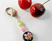 Flower Scissor Fob - Purse Charm - Beaded Zipper Pull - Gift for Sewer - Gift for Quilter - Gift for Seamstress - Sewing Accessory - Floral