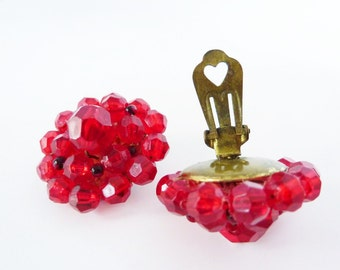 Vintage Beaded Earrings with Red and Black Multifaceted Beads and Brass Clip Backs from 1930s Germany