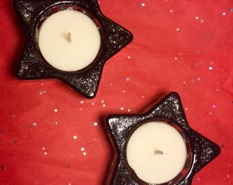Black & Silver Star tea light holders