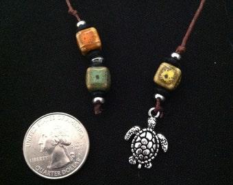 Book Thong Multicolor Ceramic with Turtle Pendant