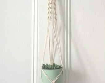 Gardener was suspended in macrame [vintage macrame decor, bohemian wedding, fiber art, boho chic, plant hanger]