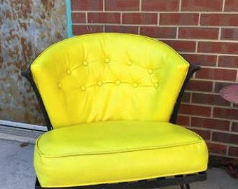 Mid-century Yellow Wrought Iron Chair