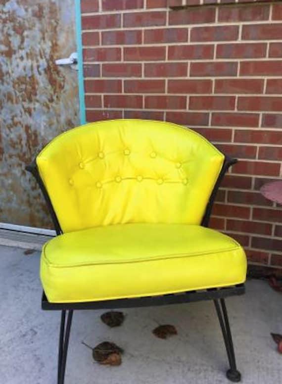 Mid-century Yellow Wrought Iron Chair