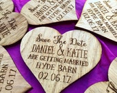 Save The Date Heart - Rustic Wedding Announcement - Save The Date Magnet - Wooden Save The Date - Wedding Announcement - Wood Invitation