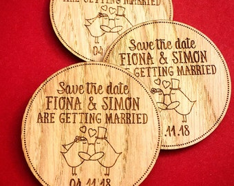 Save The Date heart birds - Save The Date Magnet - Rustic Wooden Save The Date - Wedding Announcement - Wooden Wedding Invitation  07STD