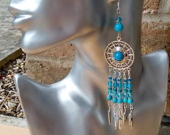 Turquoise Dreamcatcher Earrings, Bohemian Earrings, Boho, Hippy, Hippie, Chandelier, 925 Silver Earring Wires, Feather Earrings