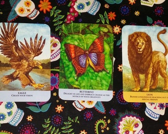 Oracle Card Reading Past, Present, and Future Spread with Animal Messages Oracle