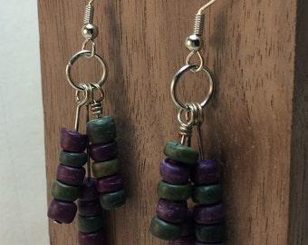 Purple and Teal Beaded Earrings