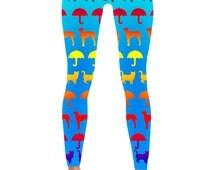 Raining Cats and Dogs Legging - Cat leggings - Dog Leggings - Umbrella Leggings - Print Leggings - Womens Leggings - Cat lover - Dog Lover