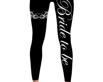 Bride to be leggings- Garter-Bachelorette Leggings -Bride Leggings- Bachelorette party Leggings - Bridal-Wedding