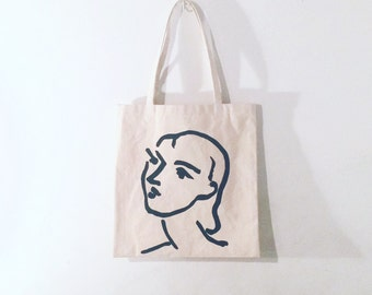 Matisse hand painted organic cotton tote bag