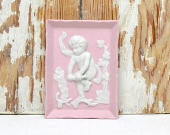 vintage pink cherub wall hanging plaque, cherub bisque picture, angel picture