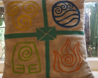 Hand Painted Avatar Last Airbender Elements Pillow/Case