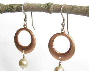 Copper Circle Earrings with Vintage Glass Pearls