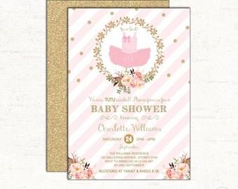 Tutu Invitation. Ballerina Baby Shower Invitation. Pink and Gold Party. Tutu Excited. Ballerina invite. Ballet First Birthday Glitter. BAL4