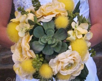 Sunny Succulent Bridal Bouquet Wedding Bouquet