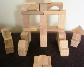SALE Blocks Wood Building Vintage Architecture Shapes Triangle Rectangle Square Round Arch Boards Clearance