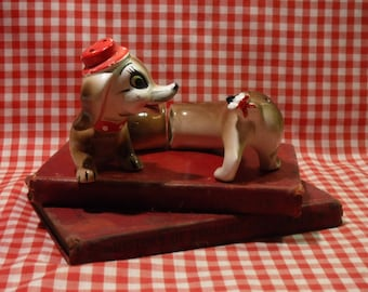 Salt and Pepper Shakers Dachshund / 1970's Made in Japan