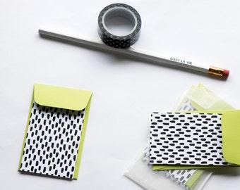 Polka Dot Mini Notecards mini envelopes thank you notecards note cards gift cards mini envelope black and white polka dot