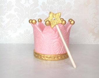 Princess Crown Cake topper/Edible crown topper/ Princess Tiara cake Topper/ Gold fondant crown topper/ Girl birthday topper