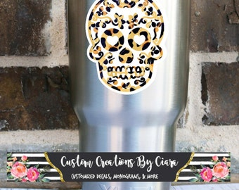 Cheetah Sugar Skull Decal ,  Yeti Skull Decal, Sugar Skull Car Decal, Cheetah Skull Decal, Cheetah Decal , Tumbler Decal , Sugar Skull