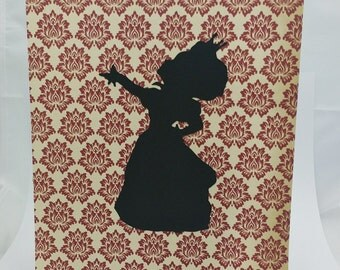 "Queen of Hearts Inspired Cut Paper Silhouette Portrait 8"" x 10"" Cut Out Art Portraits"