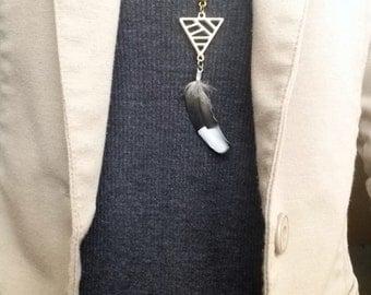 Unique Triangle feather necklace