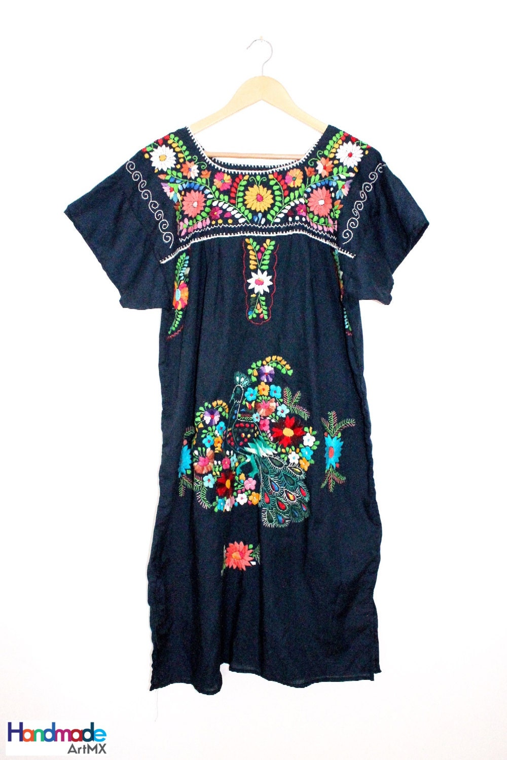 Embroidered navy mexican dress handmade