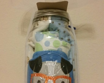 Handmade Puppy-Themed Baby Shower Gift in a Large Mason Jar for a Boy