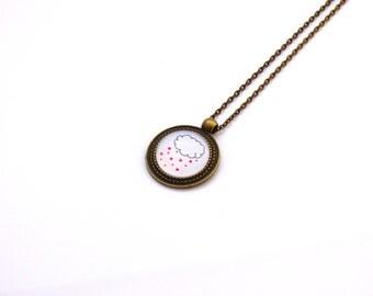"""Vintage necklace bronze """"Heart rain"""" 70 cm"""