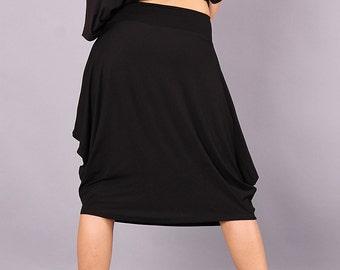 Skirt / Extravagant skirt / knee length skirt / black skirt / asymmetric skirt by FancyProject - CO-BEBA2-VL