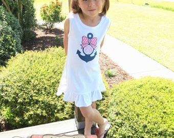 Nautical Dress, Anchor Dress, Monogrammed Dress, Glitter Vinyl Monogram, Toddler Dress, Summer Dress, Sundress, Baby Girl